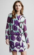 SIZE 4 DIANE VON FURSTENBERG FRANCESCA DOT SHADOW LARGE PURPLE SILK DRESS NWT