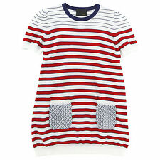 NWT Authentic Fendi Girl's Red Stripe Short Sleeve Sweater Dress (Size 6) Zucca