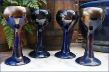 Vintage Australian Pottery DAISY WARE Blue Drip Glaze Goblets x4