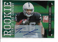 Taiwan Jones /499 NFL Oakland Raiders Donruss Elite Auto rookie football card