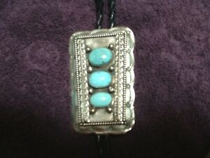 SOUTHWEST Turquoise Bolo Tie, Unmarked  Silver Tips, Natural Stones