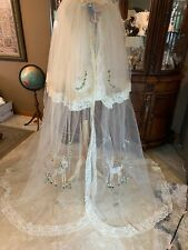 Antique BAMBI Crib or Bed Canopy Netting LACE EMBROIDERED APPLIQUÉS OOAK RARE