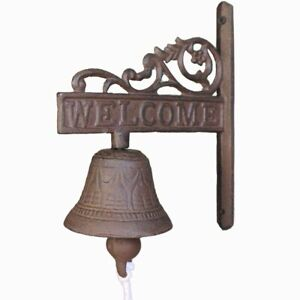 Antique Rustic Cast Iron WELCOME Sign Ring Bell Door Chime Farmhouse wall Decor
