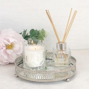 Candle Tray Plate Silver Mirrored Luxury