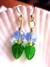 Blue Water Green Leaves Kirsten EARRINGS USA Gold Hooks w Gift Bag Earth Day 365