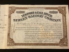 1898 Newport & Fall River Street Railway Stock Certificate Battleship Revenues!