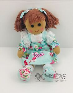 Personalised Powell Craft Blue Floral Dress Rag Doll - Fabric Doll, Child's Gift
