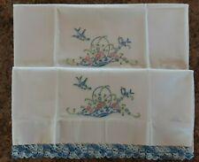 Set of Vintage Embroidered Crocheted Pillow Cases Flower Basket Blue Birds