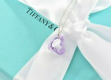 LIMITED Tiffany & Co Silver Peretti Amethyst Open Heart Pendant Charm Necklace