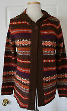 NWT Womens Effeci Woman Hooded Cardigan Sweater Jacket Brown Knit Patterned M