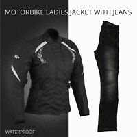 Ladies Women Motorbike Motorcycle Waterproof Cordura Jacket Coat Jeans Trouser