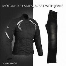 Women Ladies Motorbike Motorcycle Waterproof Cordura Jacket Coat Jeans Trouser