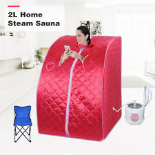 2L Full Body Home Steam Sauna Spa Loss Weight Indoor Therapy Detox Red Portable