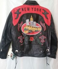 "NOS Vintage Avirex ""New York"" Leather Motorcycle Black Jacket - Size XS"