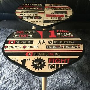 Set of Fight Club rules Heart Shape resin top coffee tables. Great gift idea!
