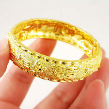 Dragon Phoenix Bangle Women's Solid 24k Real Yellow Gold Filled Bracelet Jewelry