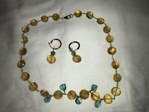 14k citrine aqua color stones choker earrings set