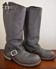 VINTAGE RARE BIKE BOOTS STEEL TOE MOTORCYCLE RIDING BOOTS BROWN LEATHER - SIZE 7