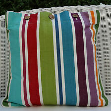 STRIPED SCATTER CUSHION COVER, 'HUCKLEBERRY' GREAT MIX OF COLOURS, THROW PILLOW