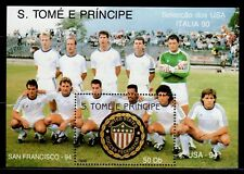 SELLOS OFERTA!!! SANTO TOMÉ E PRÍNCIPE1990 HOJA BLOQUE 89 ITALIA 90