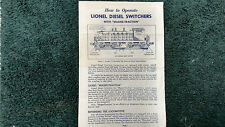LIONEL # 601 LIONEL DIESEL SWITCHERS INSTRUCTIONS PHOTOCOPY