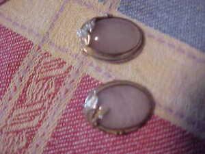 Sterling Silver & Rose Quartz Oval Ear Clips Earrings