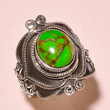 COPPER GREEN TURQUOISE VINTAGE STYLE 925 STERLING SILVER RING SIZE 8.5 US