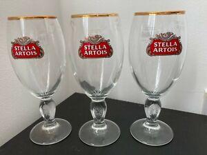 SET OF  3 STELLA  ARTOIS GOLD RIM HALF PINT GLASSES