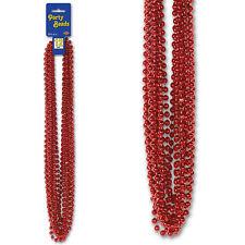 12 Metallic Red Mardi Gras 33in Metallic Party Beads Beaded Garlands Necklaces