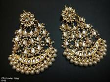 Traditional Ethnic GoldTone j40 Kundan Earrings Party Wear Topps Chand Bali! uzz