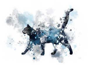 ART PRINT Midnight Cat illustration, Pet, Animal, Wall Art, Cat, Home Decor Gift