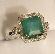 2.28 CTW NATURAL EMERALD AND REAL DIAMONDS RING IN 14K WHITE GOLD