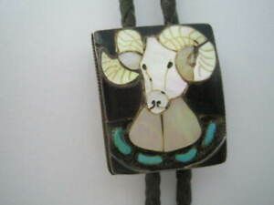 Ernest A. Zunie Zuni Mother of Pearl RAM's Head BOLO TIE ~ Turquoise
