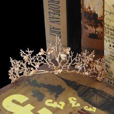 Women Gold Rhinestone Flower Bridal Crown Tiaras Wedding Diadem Hair Accessories