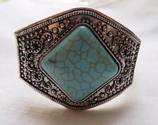 Vintage Large Chunky Ornate Silver Tone Faux Turquoise Hinged Bracelet