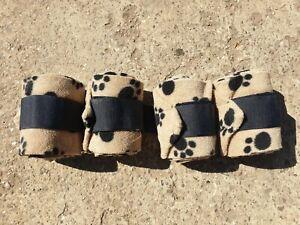 Shires Fleece Polo Bandages. Set of 4. Animal paw design