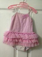 Kate Mack Pink And White Ballerina Tutu Bathing Suit 24 Months Pre Owned
