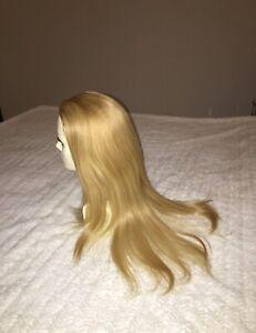 "100% Human Hair Wig Fall Topper 22"" By Aspen Long Light Natural Blond Org $1500"
