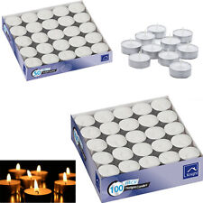100 X Quality White Unscented Tealight Candle Long Lasting Burn Time 4hours Each