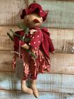 Primitive Grungy Snowman girl Christmas Doll  red Wool vintage fabrics