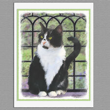 6 Black & White Tuxedo Cat Blank Art Note Greeting Cards