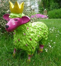 Garten Figur Lustiges Buntes Schaf Lamm mit Krone Deko Tier 48 Breit Grün / Pink
