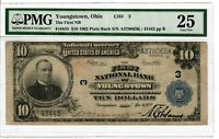 1902 $10 Fr 635 First National Bank Youngstown OH PMG VF-25 Large Size Note 4020