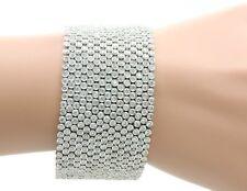 18K White Gold Wide Mesh 27.18ct Diamond Bracelet 108.00 Grams