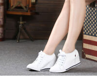 Hot New Ladies Hidden Wedge Heel Fashion Sneaker High top Lace up Athletic Shoes