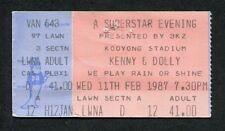 Original 1987 Dolly Parton Kenny Rogers Concert Ticket Stub Melbourne Australia