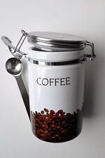 Kaffeedose Keramik mit Löffel Vorratsdose mit Dichtring Steingut NEU