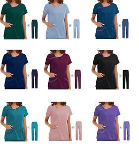 Unisex Men/Women Medical Nursing Scrub (Top&Pants) V-Neck Uniform Hospital Set