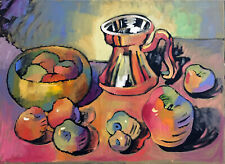 "Fruit Still Life Cubist Oil Painting, 18""x24"" Original Signed"