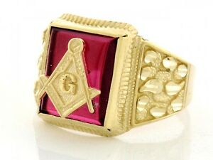 10k or 14k Solid Yellow Gold Mens Simulated Ruby Masonic Ring